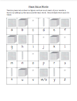 Word worth recording sheet and place value words reference chart