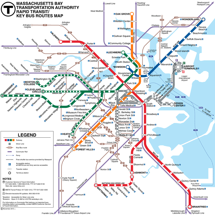 Metro39s Subways And Underground Transport Maps Boston MBTA