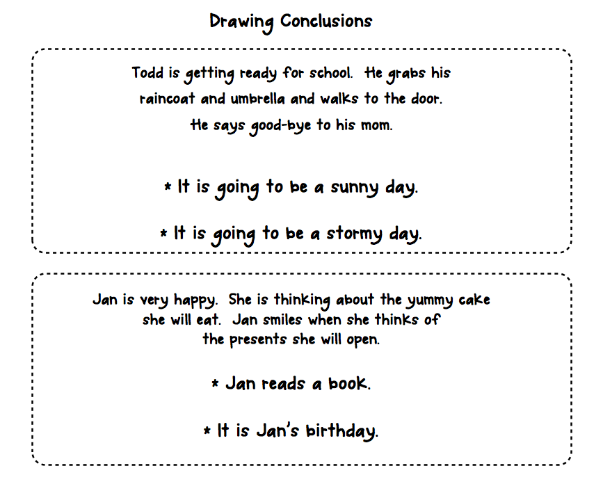 Drawing conclusions worksheets kindergarten