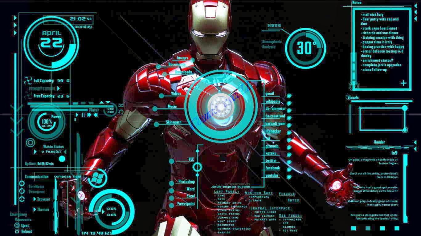 Iron Man Wallpaper 34447: Rainmeter Iron Man Windows 7