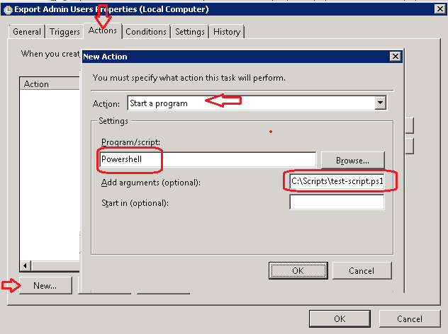 Steps to Create Schedule Task to run Powershell Script
