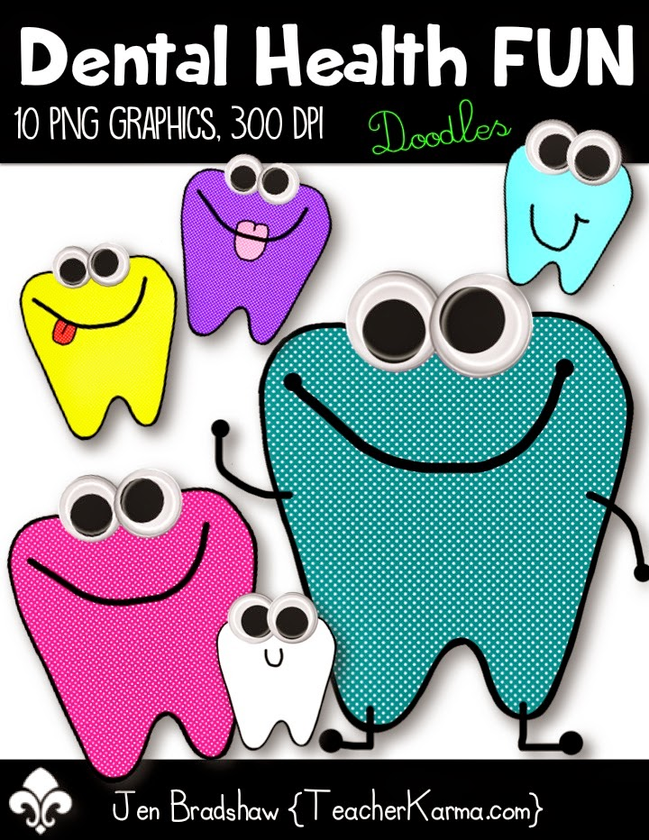 freebie dental health clip art ~ googly-eyed teeth  teacherkarma.com
