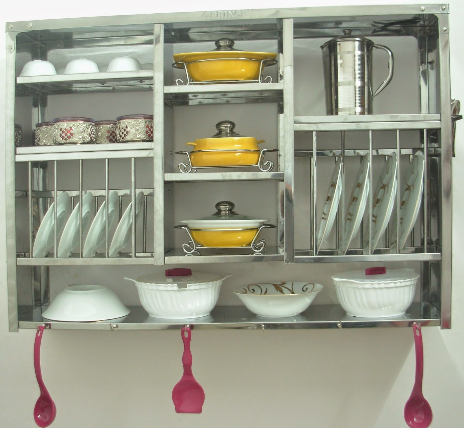 Wall mounted plate racks for kitchens - Dish Dryer Display Rack Stainless Steel Wall Hanging