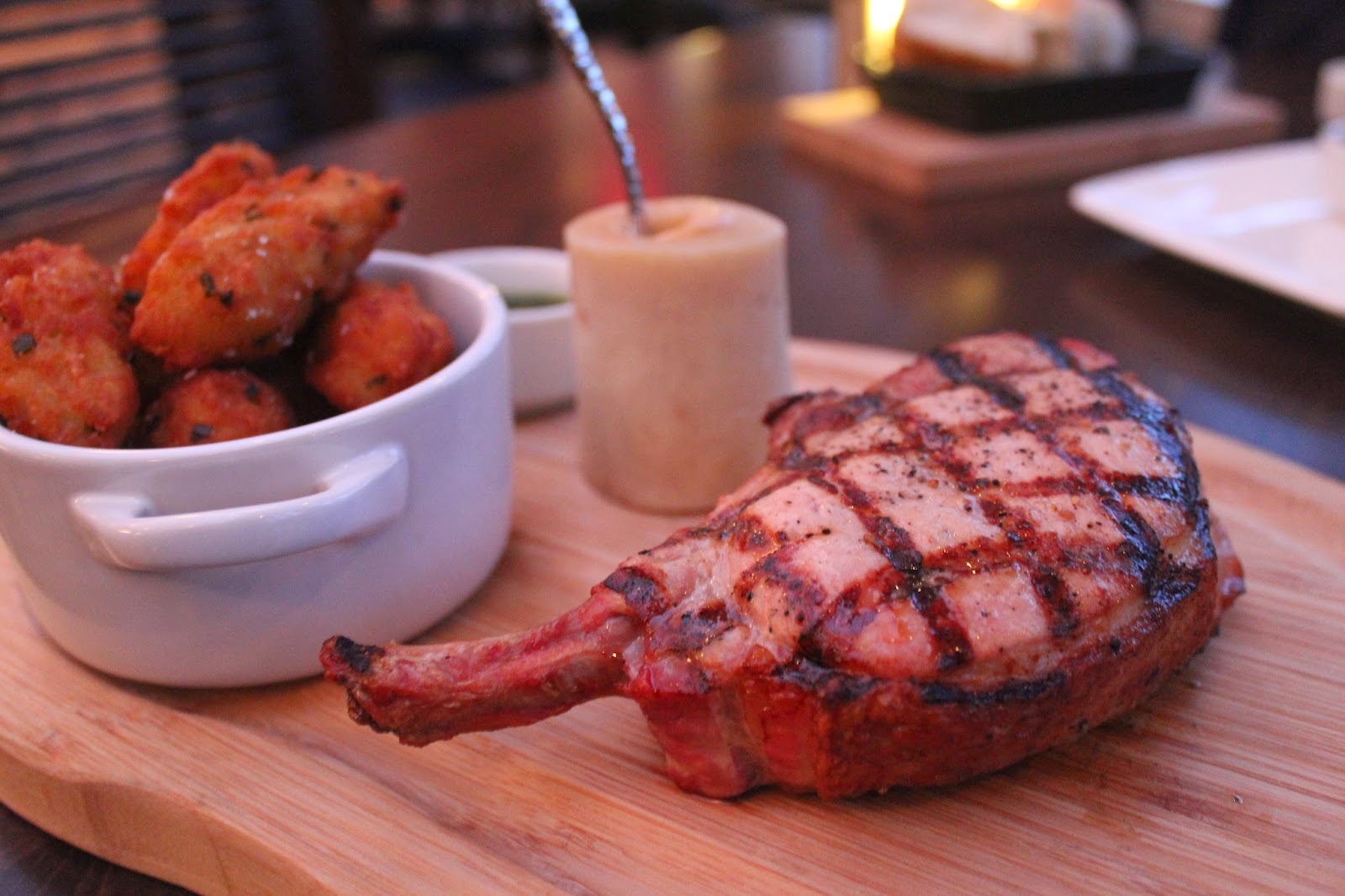 Pork chop at Chopps American Bar and Grill, Burlington, Mass.