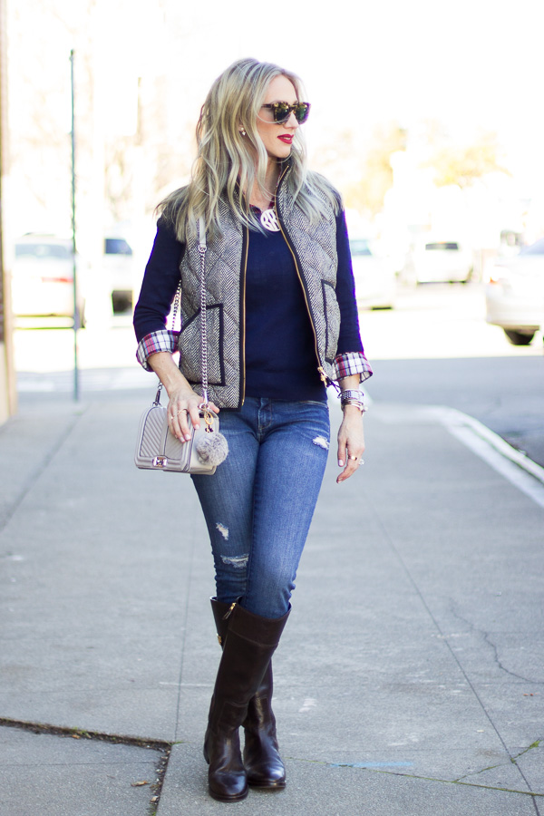 layered plaid with sweater