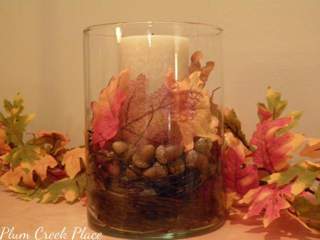 fall, fall centerpiece, fall candle holder