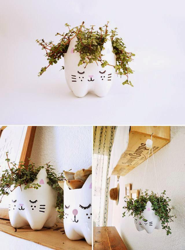 Membuat Pot Kucing Lucu Dari Botol Bekas 3