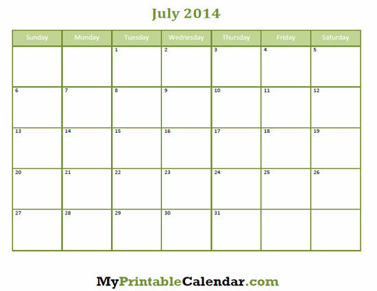 July 2014 Calendar Printable 2 Printable Calendar 2014 Blank