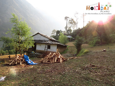 Villagers collecting wood