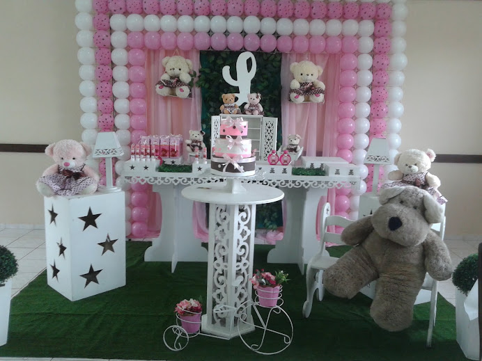 Ursos rosa e branco provençal com tela de PDS