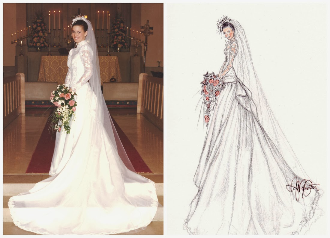 Wedding gifts dress illustrations by anna marie lisa for Vintage wedding dresses dallas
