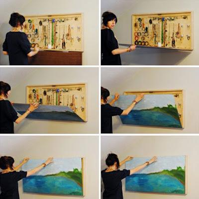 Hemat tempat dengan aksesoris yang ditutupi lukisan