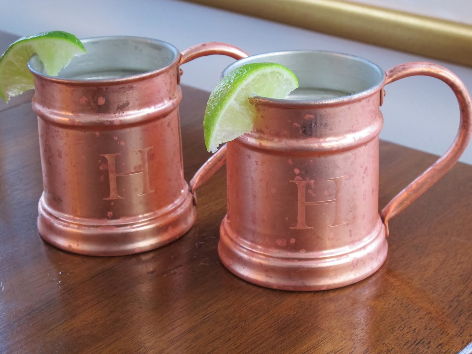 Moscow Mule Cocktails in Copper Mugs