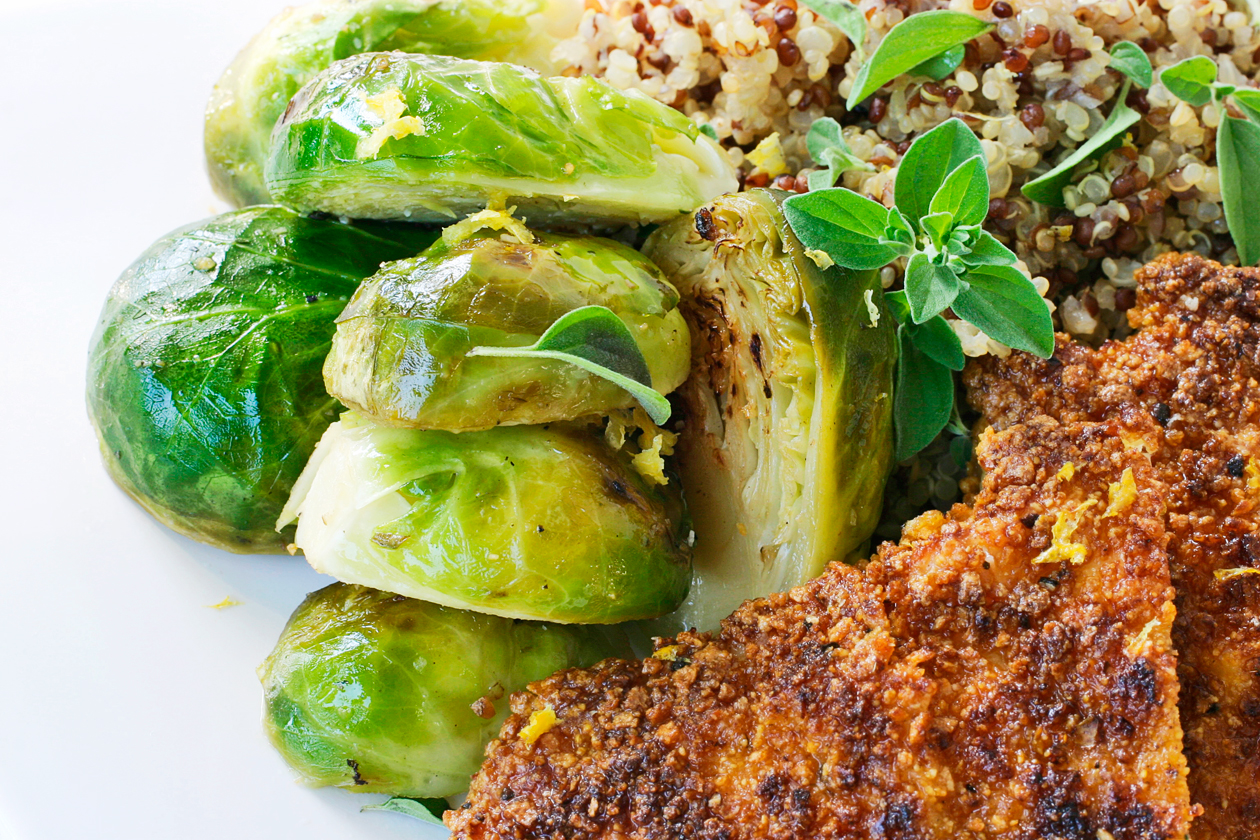 Laura friendly breaded pan fried chicken brussel sprouts for Chicken and brussel sprouts skillet