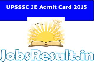 UPSSSC JE Admit Card 2015