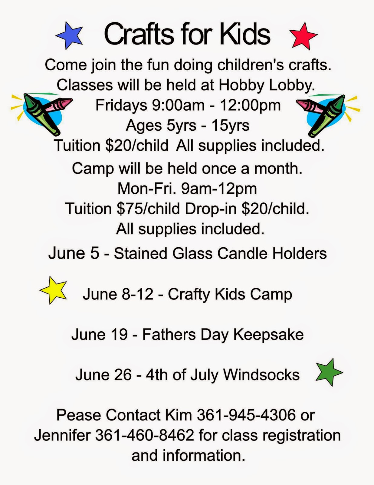 Corpus christi area summer camps 2015 corpus christi fun for kids hobby lobby kids crafts class and summer camp xflitez Gallery