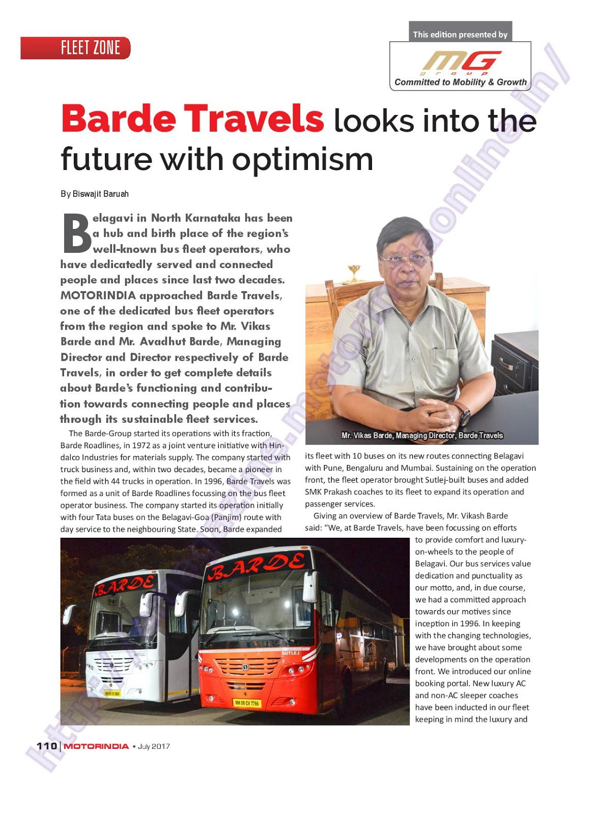 MOTOR INDIA ARTICLE 15 : BARDE TRAVELS