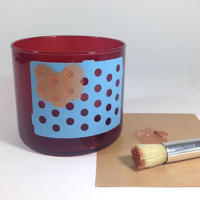 stenciling glass jar lisa fulmer