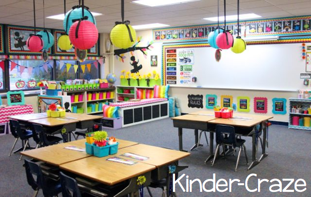 kindergarten classroom and library with bright colors