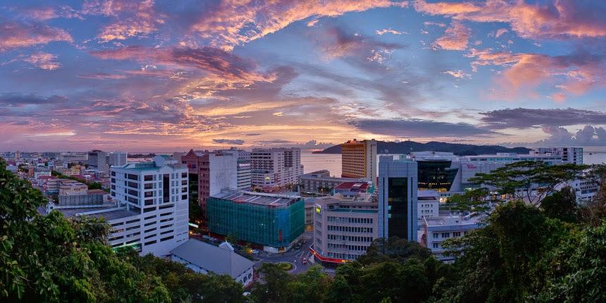 sunset over Kota Kinabalu, Sabah, Malaysia