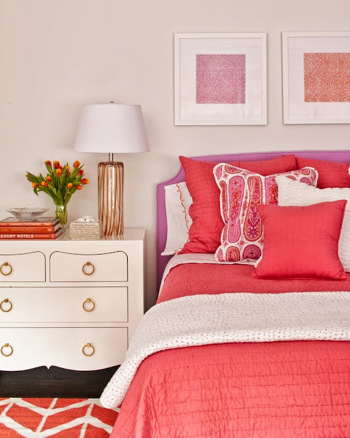 coral bedroom accents