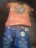 MissMe Shorts and Affliction Shirt