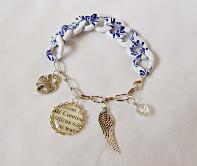 image two cheeky monkeys literature charm bracelet chunky printed chain blue and white jewellery atticus finch to kill a mockingbird