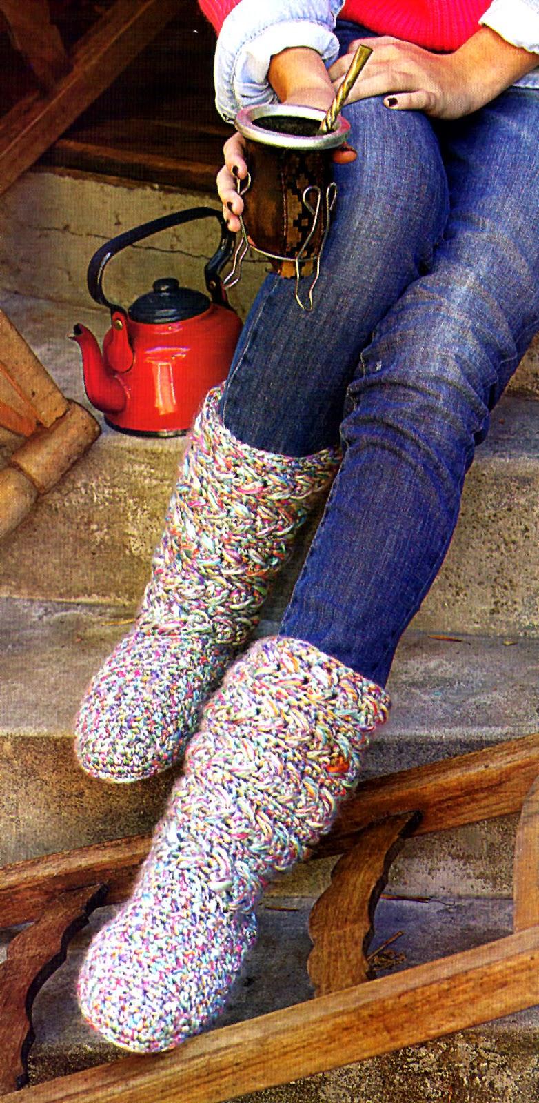 botas tejidas en crochet con base de alpargatas