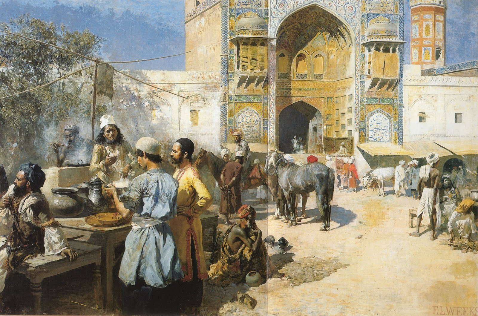 An Open Air Restaurant In Lahore Oil Painting By