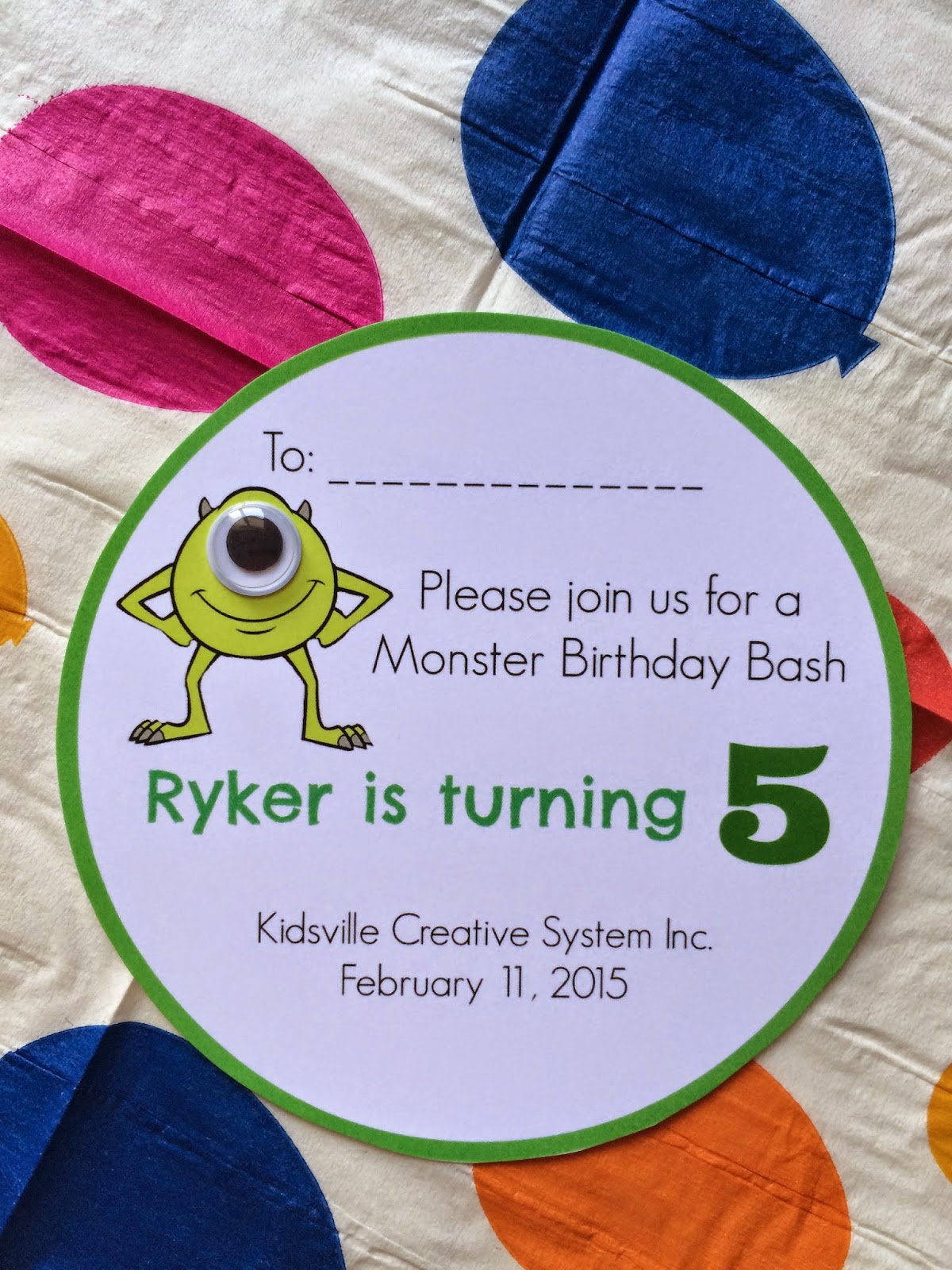 Epicurean Mommy: Monster Inc. Birthday Party