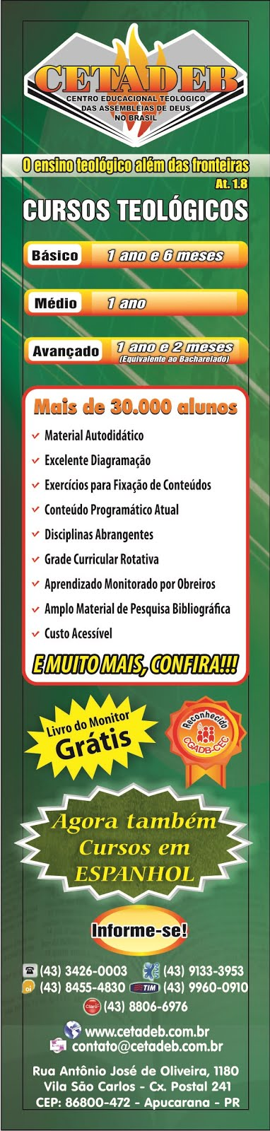 Faça um curso teológico