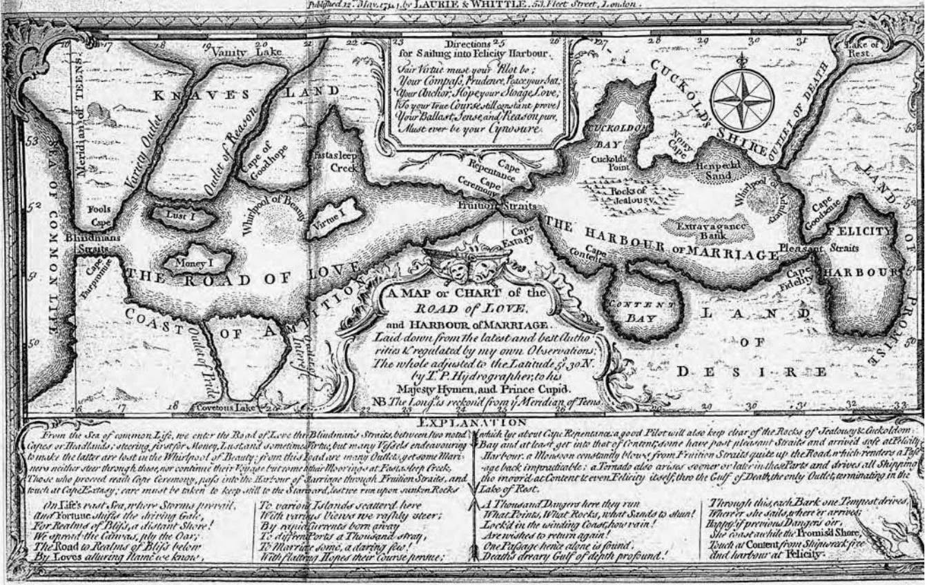 a map or chart of the road of love and harbour of marriage