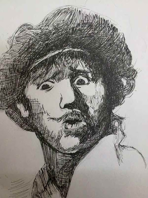 autorretrato de rembrandt con plumilla