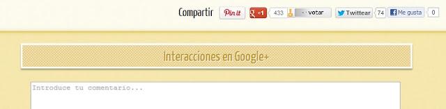 Interacciones de Google Plus junto a comentarios