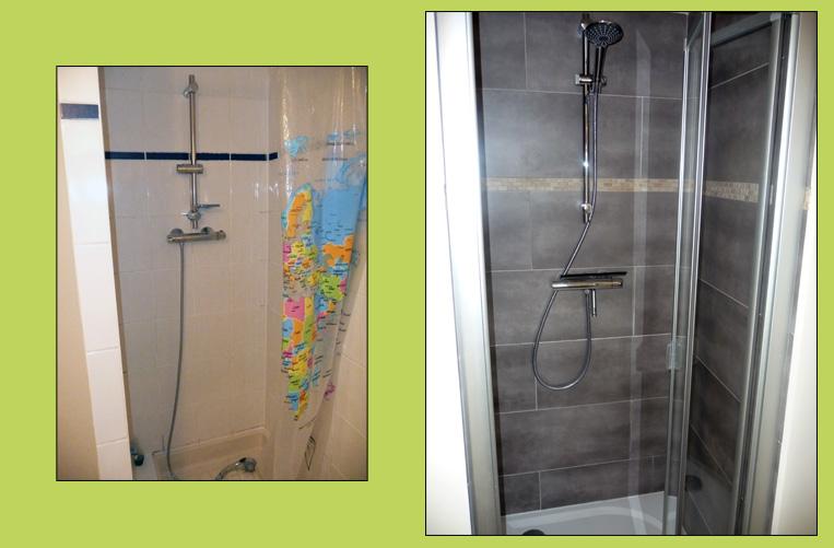 Bel et bien courtage en travaux home staging salles for Cabine de douche petit espace