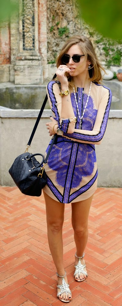 Blue Lace Little Dress with Studded Shoes | Chic Street Outfits