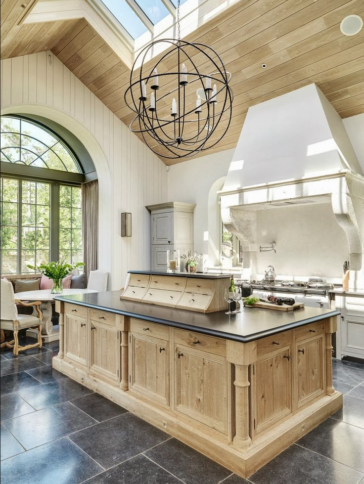 Country kitchen with pot filler faucet custom hood for Bleached wood kitchen cabinets