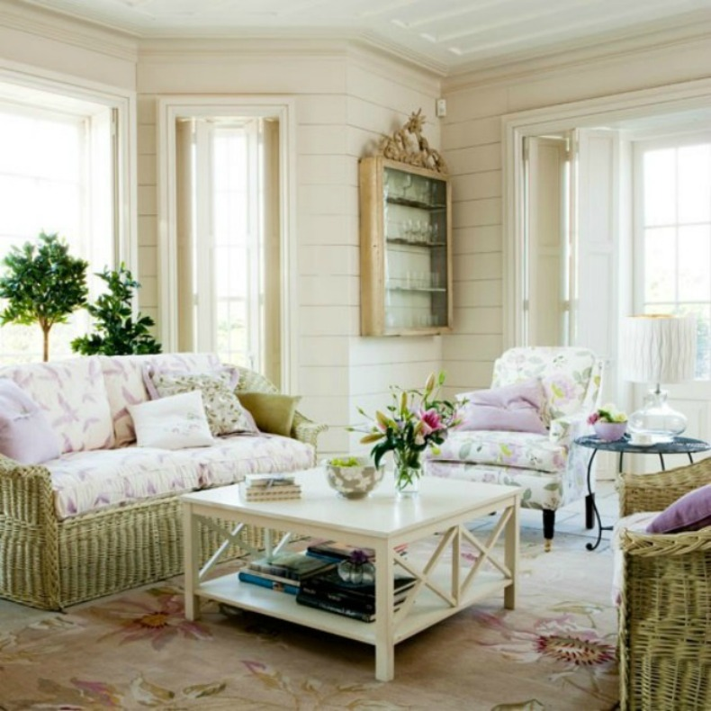 shabby chic wicker with floral print