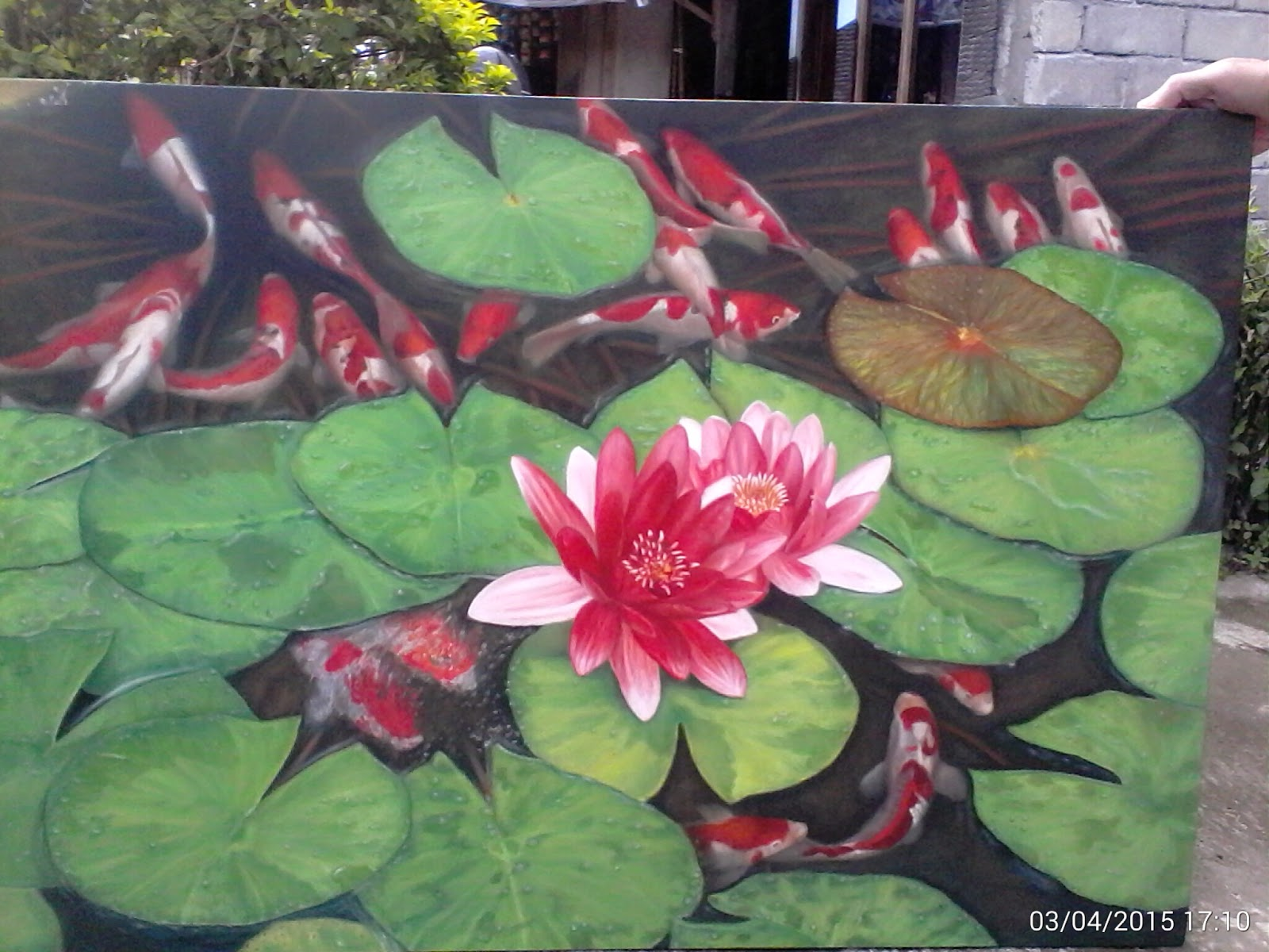 Lukisan Bunga Teratai Dan Koi