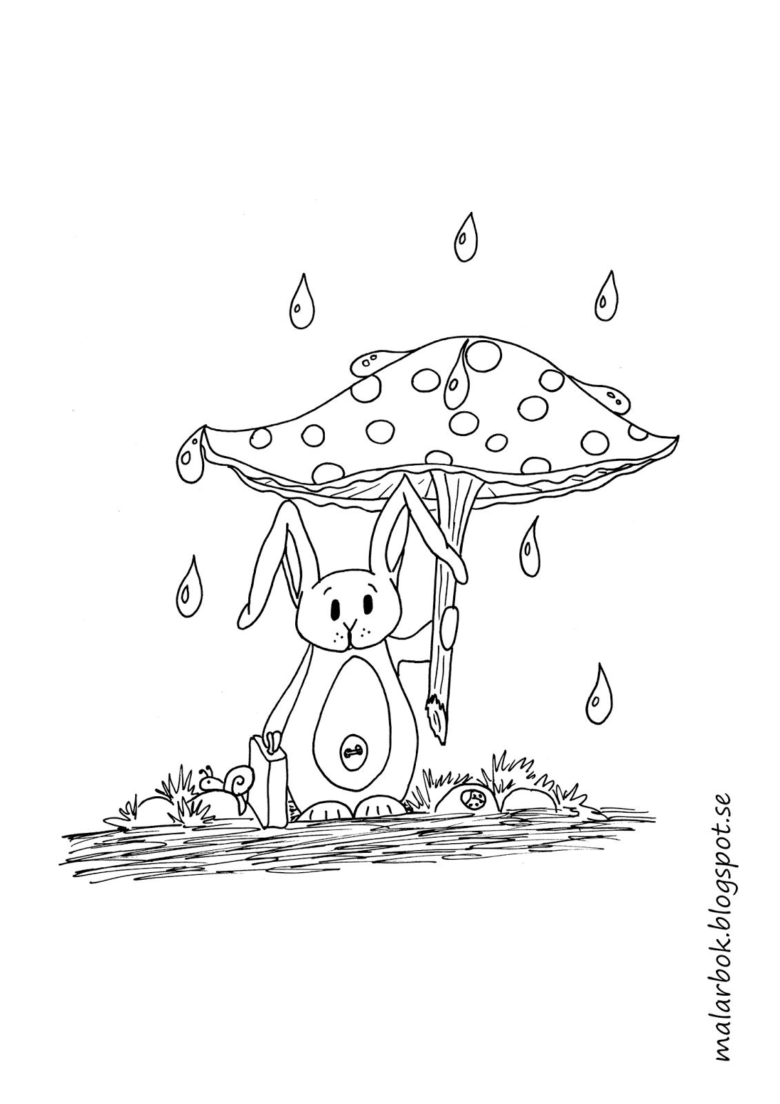 Målarbild kanin med svamp med paraply