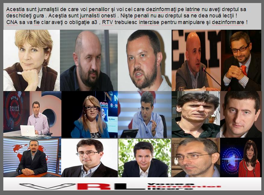 Acestia sunt jurnaliştii de care voi penalilor şi voi cei care dezinformaţi pe latrine nu aveţi dreptul sa deschideţi gura . Aceştia sunt jurnalisti onesti . Nişte penali nu au dreptul sa ne dea nouă lecţii ! CNA sa va fie clar aveţi o obligaţie a3 , RTV trebuiesc interzise pentru manipulare şi dezinformare !