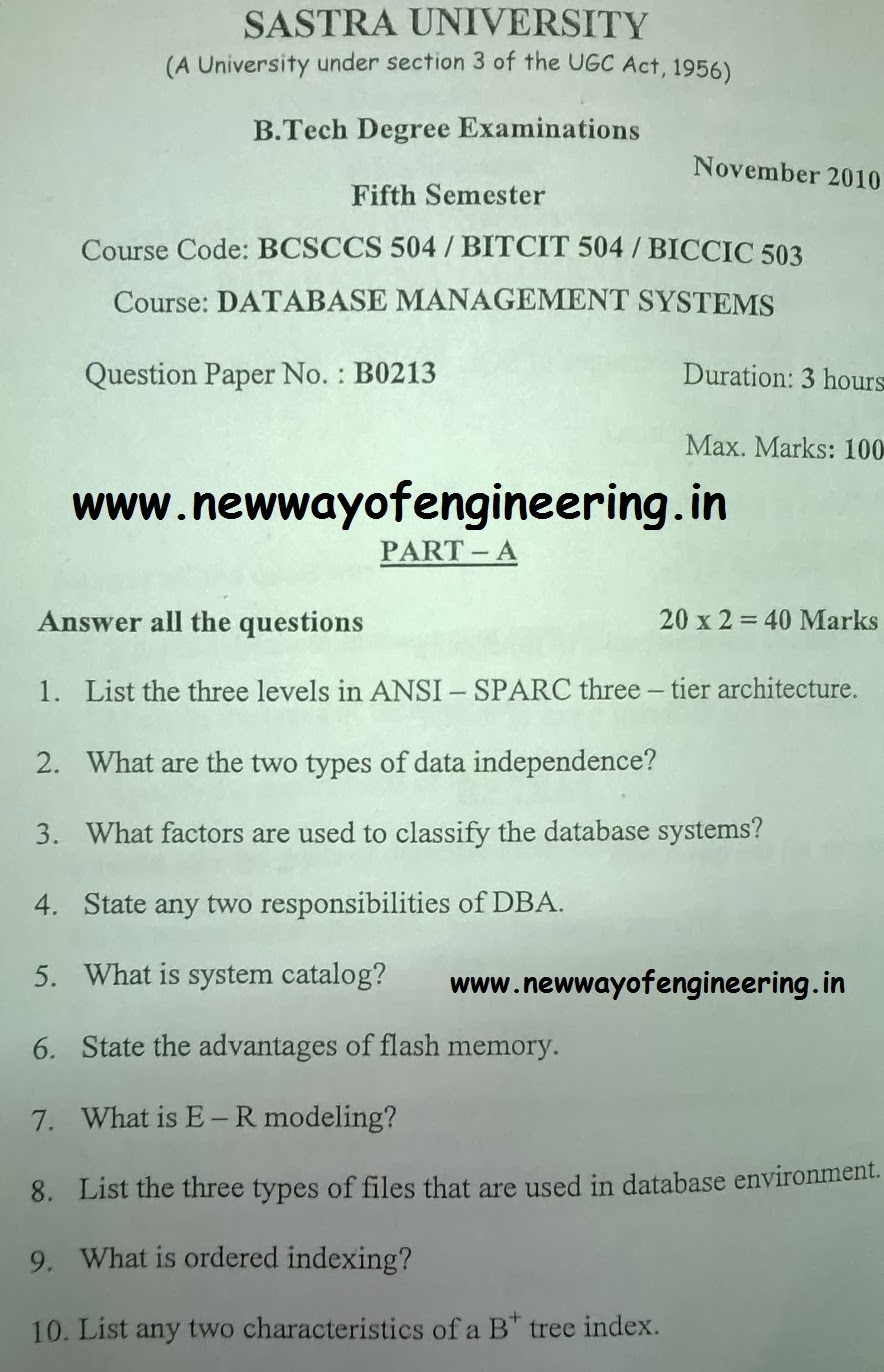 Dbms previous year semester question paper nov 2010 altavistaventures Gallery
