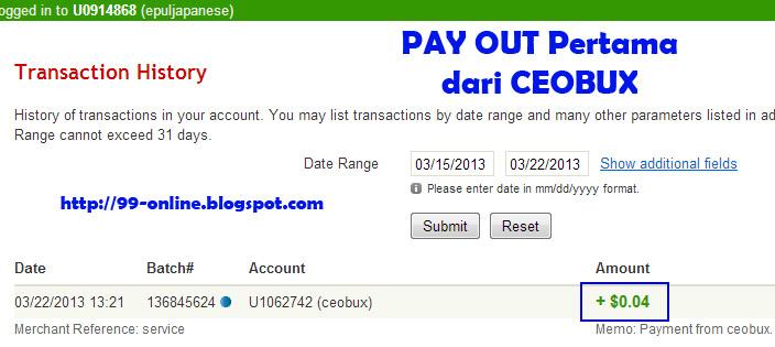 Payout Pertama dari CEOBUX