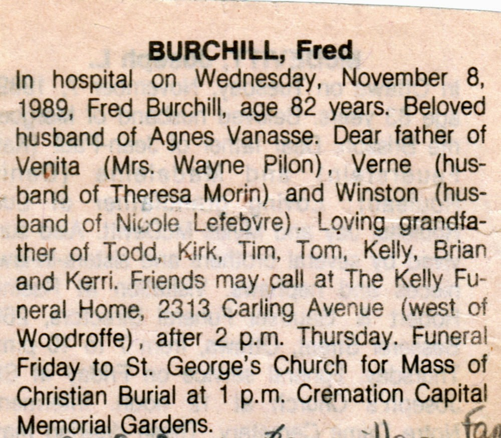 Fred Burchill obituary