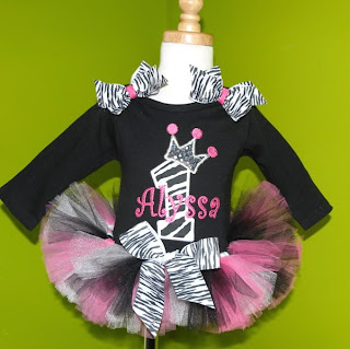 Black n Pink Zebra Princess Crown Number Tutu Outfit Set