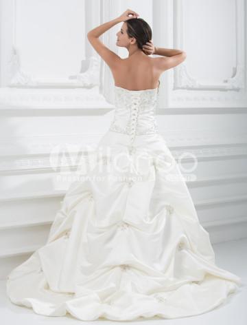 Formelle sweetheart robe de bal bretelles robe perlée de mariage en satin