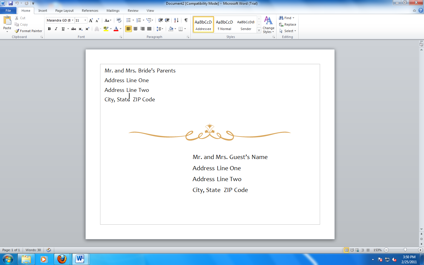 ms office template