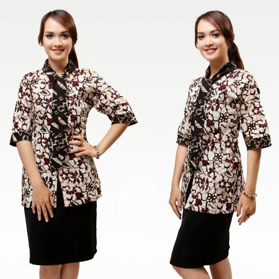 Model Baju Batik Kerja Wanita Motif Terbaru 2016