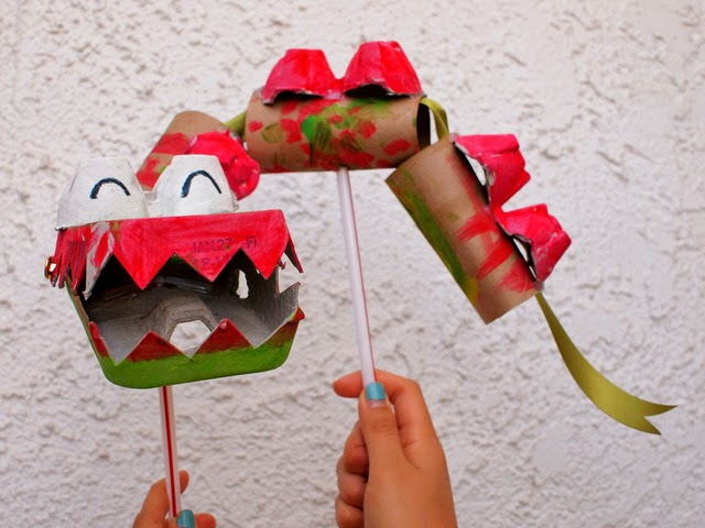 Chinese New Year Dragon Puppet made from recycled materials (egg cartons and toilet paper rolls)