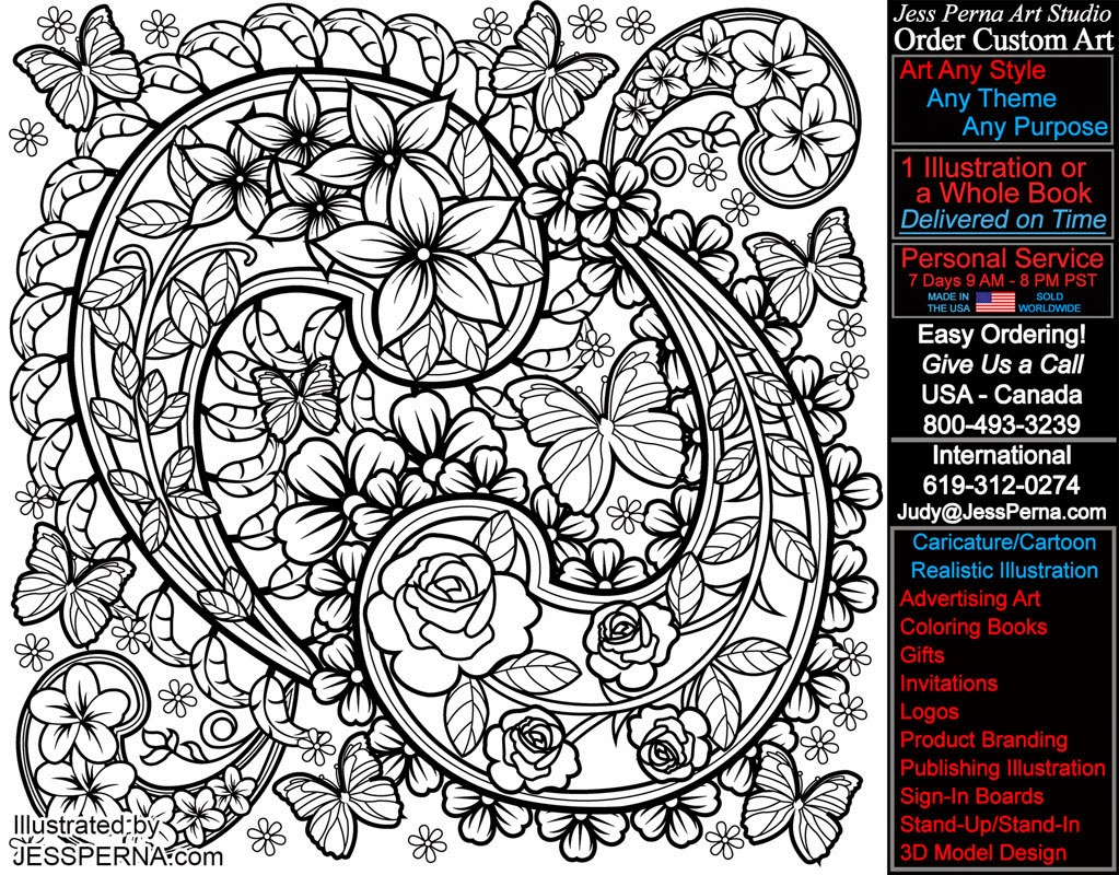 Paisley Coloring Page Adult Coloring Book Illustration